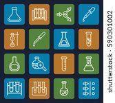 experiment icons set. set of 16 ... | Shutterstock .eps vector #590301002