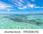 tropical sea on famous playa... | Shutterstock . vector #590308196