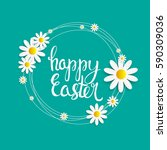 happy easter spring holiday... | Shutterstock .eps vector #590309036