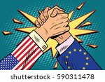 usa vs eu policy and... | Shutterstock .eps vector #590311478