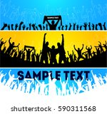 crowd at concert and at stadium  | Shutterstock .eps vector #590311568