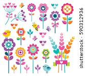 Stock vector set of retro style flowers butterflies birds and hearts in bright pretty spring colors cute 590312936