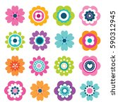 set of flat spring flower icons ... | Shutterstock .eps vector #590312945