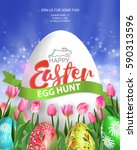 Easter Egg Hunt Poster. Vector...