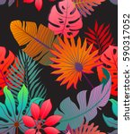 exotic decorative colorful palm ... | Shutterstock .eps vector #590317052