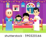 a muslim family are getting... | Shutterstock .eps vector #590320166