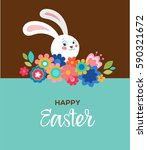 happy easter greeting card ... | Shutterstock .eps vector #590321672