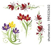 colorful spring time flowers ... | Shutterstock .eps vector #590322632