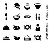 plate icons set. set of 16... | Shutterstock .eps vector #590333138