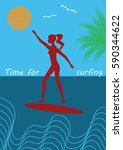 surfer girl on a surfboard sun... | Shutterstock .eps vector #590344622