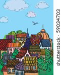 city  colorful roofs   Shutterstock . vector #59034703
