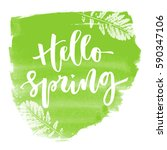 hello spring hand written...   Shutterstock .eps vector #590347106