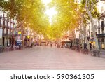 Small photo of La Rambla street. The most popular street in Barcelona early in the morning. Almost empty. Spain