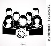 business handshake and business ... | Shutterstock .eps vector #590364152