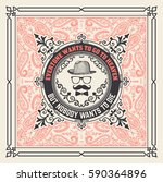 retro card with floral... | Shutterstock .eps vector #590364896