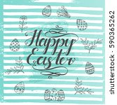 greeting poster for easter with ... | Shutterstock .eps vector #590365262