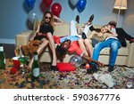 messy room after wild house... | Shutterstock . vector #590367776