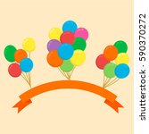 colorful balloons with orange... | Shutterstock .eps vector #590370272