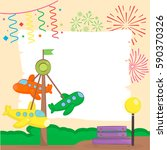 amusement park and playground... | Shutterstock .eps vector #590370326