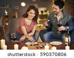 close up of young couple having ... | Shutterstock . vector #590370806