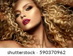 beautiful face of a fashion... | Shutterstock . vector #590370962