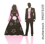 wedding couple   bride and... | Shutterstock .eps vector #590373155