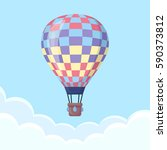 hot air balloon in the sky with ... | Shutterstock .eps vector #590373812