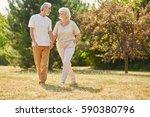 happy senior citizens in love... | Shutterstock . vector #590380796
