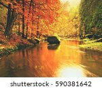 autumn river. colorful forest... | Shutterstock . vector #590381642