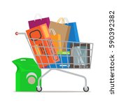 shopping trolley full of bags... | Shutterstock .eps vector #590392382