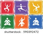 six colored icons with human... | Shutterstock .eps vector #590392472