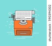 typing machine love. vector... | Shutterstock .eps vector #590394302