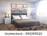 bedroom interior. 3d... | Shutterstock . vector #590395022