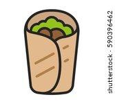 burrito falafel wrap pita bread ... | Shutterstock .eps vector #590396462