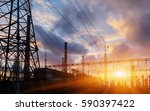 power station at dusk and power ... | Shutterstock . vector #590397422