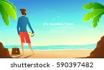businessman in shorts with... | Shutterstock .eps vector #590397482