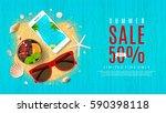 beautiful web banner for summer ... | Shutterstock .eps vector #590398118