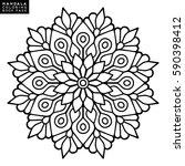 flower mandala. vintage... | Shutterstock .eps vector #590398412