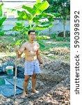 the topless male gardener is... | Shutterstock . vector #590398592