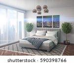 bedroom interior. 3d... | Shutterstock . vector #590398766