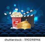 cyan cinema movie design poster ... | Shutterstock .eps vector #590398946