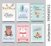 baby shower card set for boy... | Shutterstock .eps vector #590430512