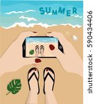 summer time. girl's hands... | Shutterstock .eps vector #590434406