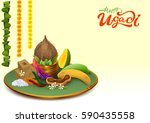 happy ugadi. template greeting... | Shutterstock .eps vector #590435558