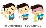 vector sick boy  cough ... | Shutterstock .eps vector #590438432