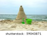 Sand Castle On Sandy Beach