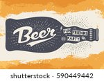 bottle of beer with hand drawn... | Shutterstock .eps vector #590449442