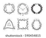 doodle rustic branch frames ... | Shutterstock .eps vector #590454815