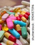 medical or vitamin pills.... | Shutterstock . vector #590457596