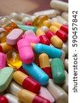 medical or vitamin pills.... | Shutterstock . vector #590457842